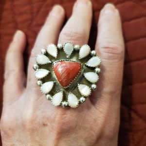 Large Navajo Sterling Mother of pearl/Spiny Ring